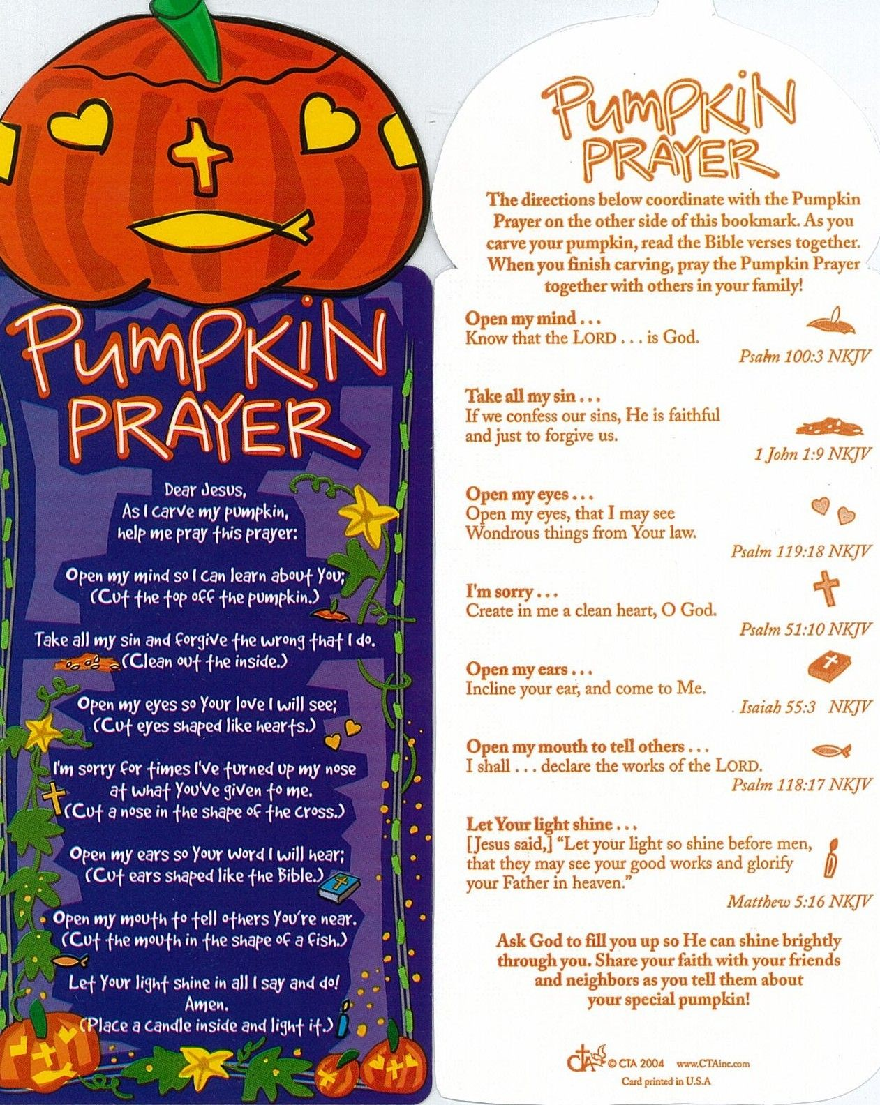 Pumpkin Prayer To Accompany Carving With Images Church Lessons