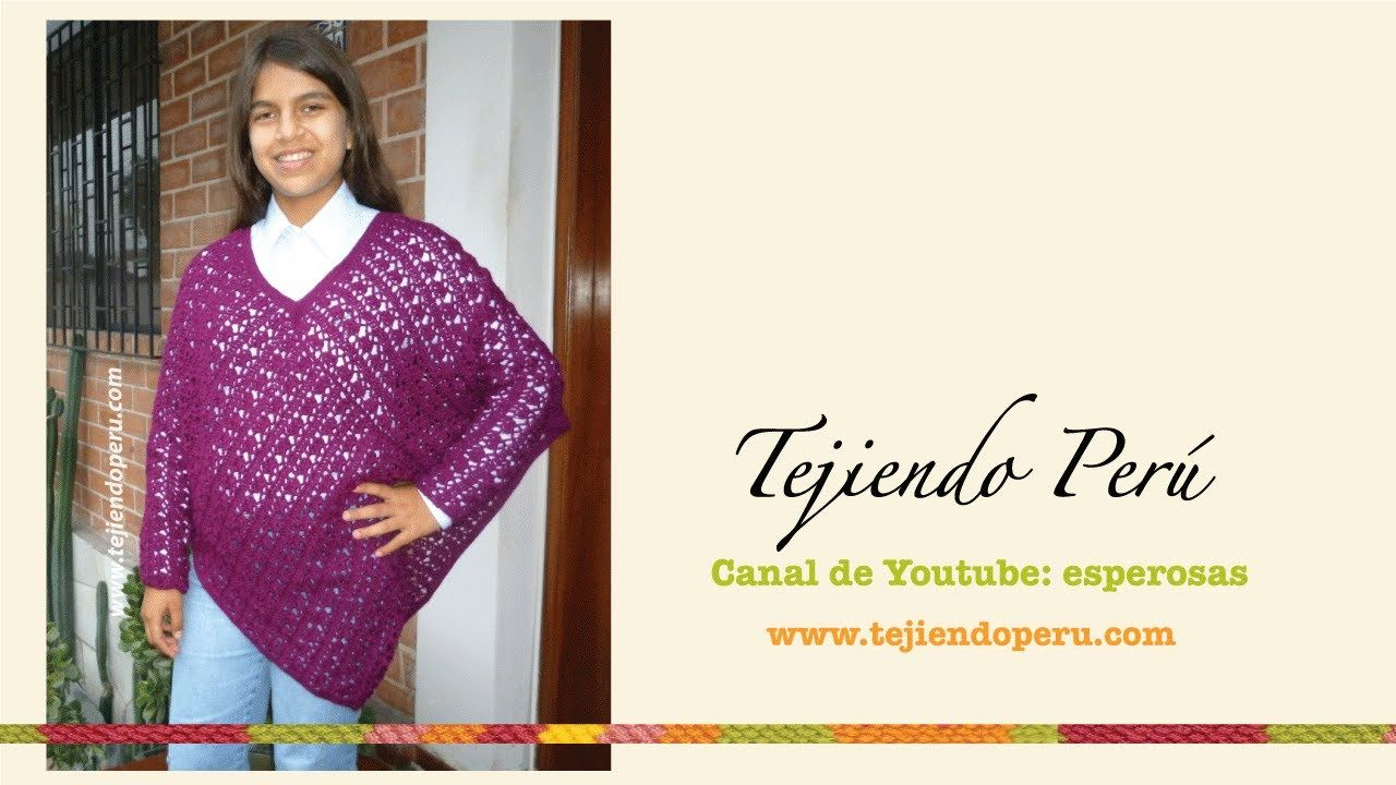 Poncho Con Mangas Tejido A Crochet Poncho Con Mangas Como Tejer Un Poncho Chal Tejido A Crochet
