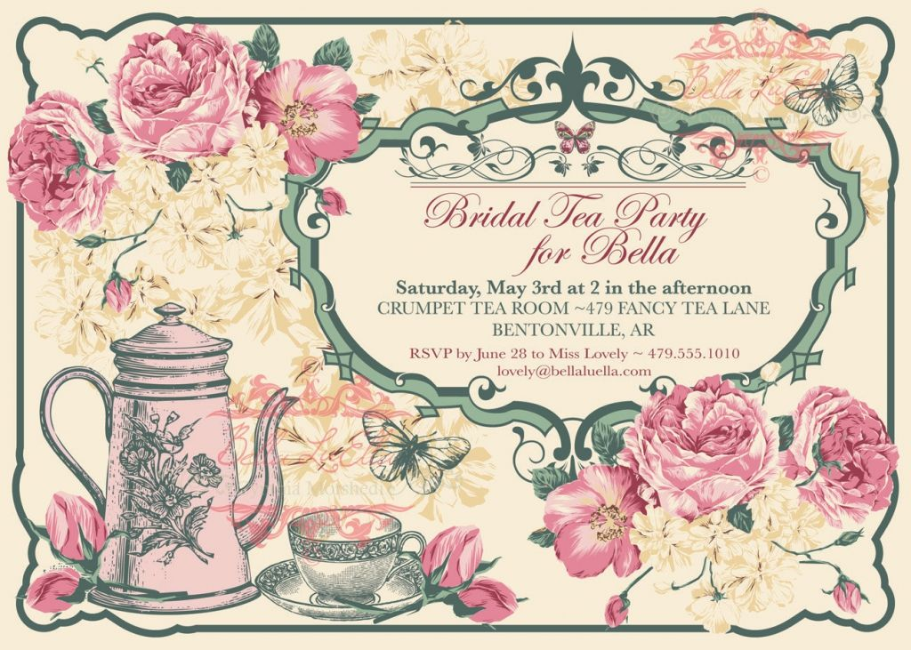 Free Vintage Tea Party Invitation Template The Big Pinterest - Bridal tea party invitation template