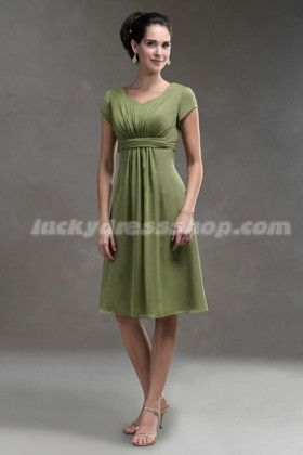 fe0a8a3bdc2 Sage A-Line Princess Knee-length Empire Bridesmaid Dress With Short Sleeve  (MW5258)-LuckyDressShop.com... In the