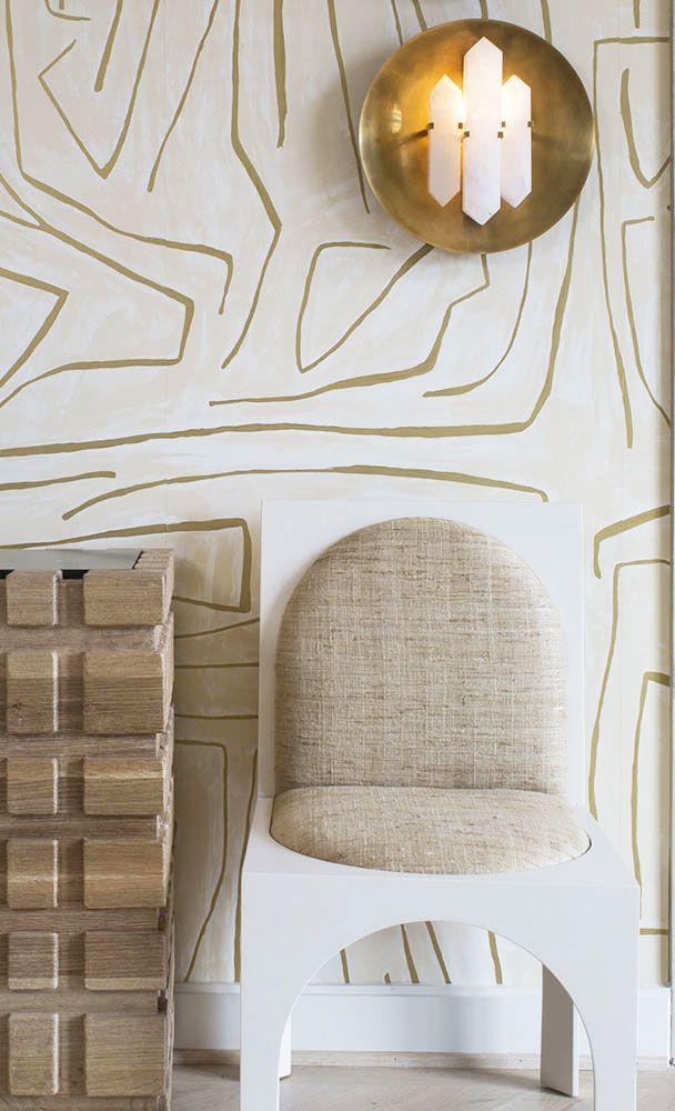 KELLY WEARSTLER | GRAFFITO WALLPAPER. In Ivory/Gold | Gold ...