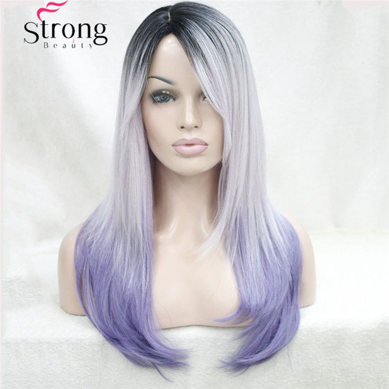 Long Straight Ombre Wig Purple Silver With Dark Roots Skin