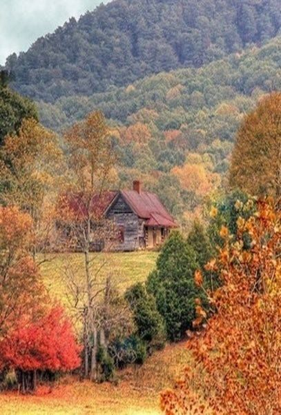 Beautiful Scene Log Cabins Fall Pictures Nature Fall