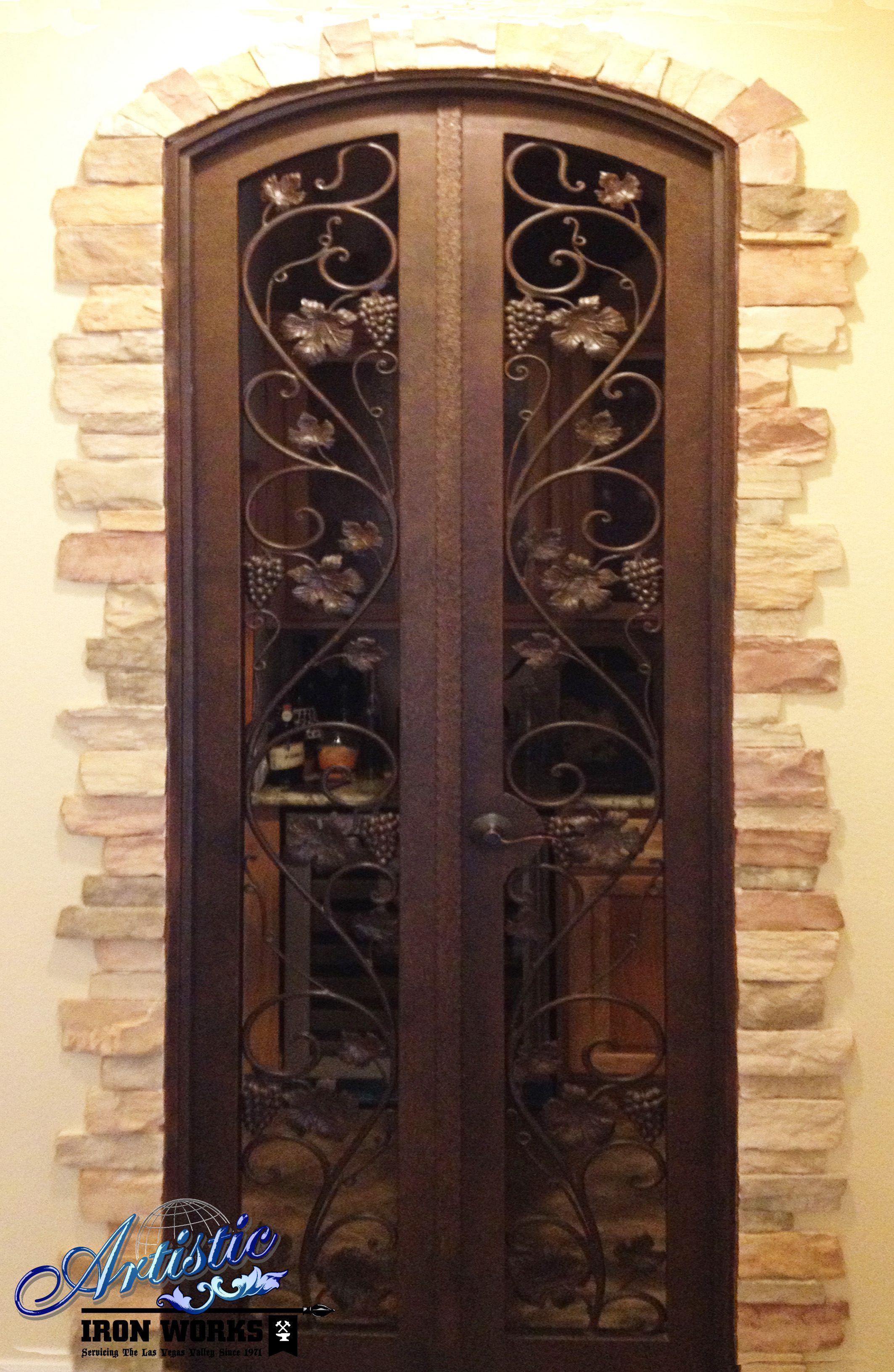 Wrought Iron Wine Cellar Door