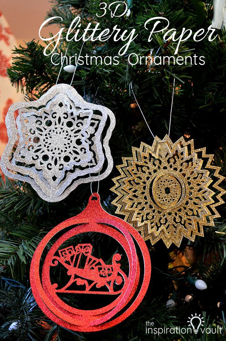 3d glittery paper christmas ornaments diy craft tutorial cricut christmasornament ornament via theinspovault