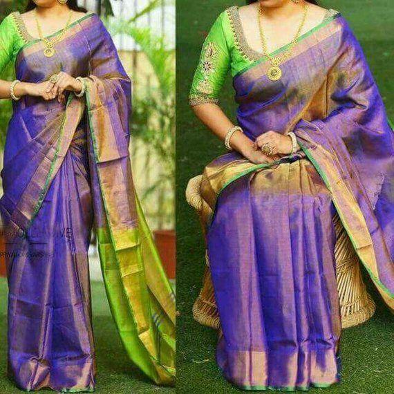b5bbcf6d3d8b0f Uppada Violet Color Full tissue silk saree with contrast Green pallu ...