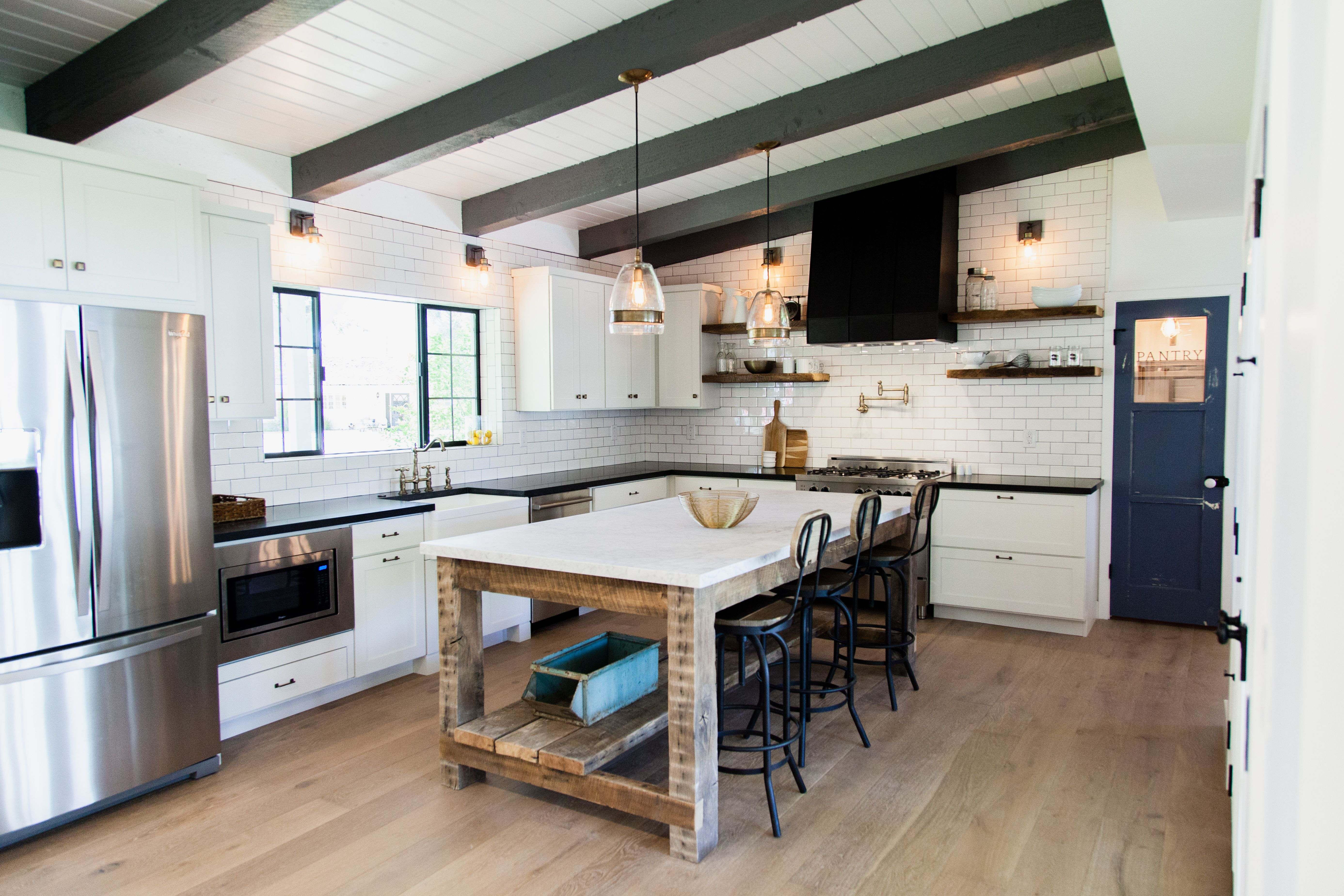 Custom Barn Wood Island With Carrara Marble Counter Top By Rafterhouse Freestanding Kitchen Island Country Kitchen Countertops Freestanding Kitchen