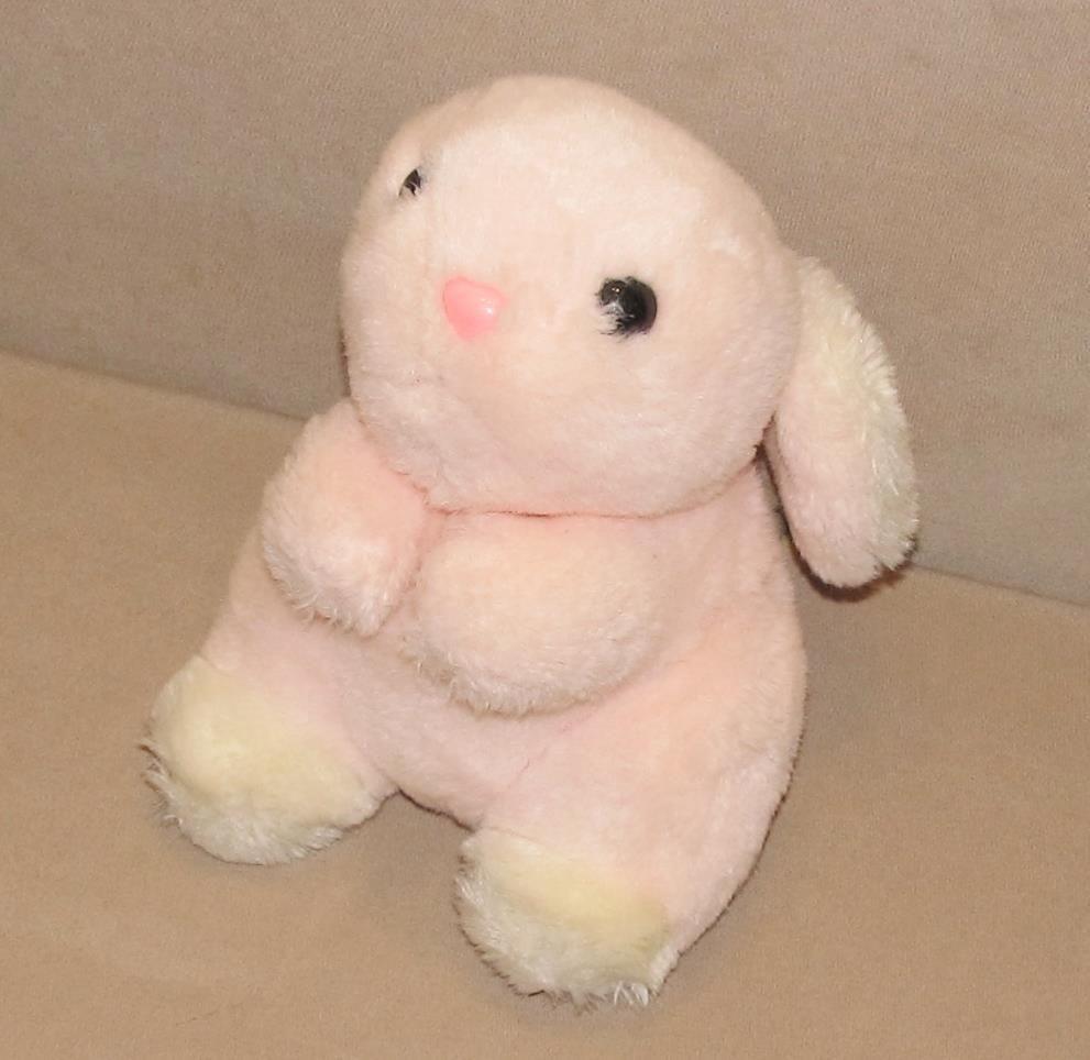 Mary Meyer Vintage Pink White Easter Bunny Rabbit Plush Stuffed ...