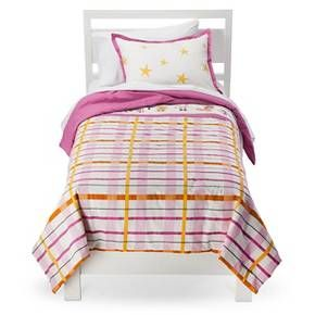 Rachel Kate™ Girls Punk Animal Plaid Comforter Set - White/Pink/Yellow (Twin) : Target