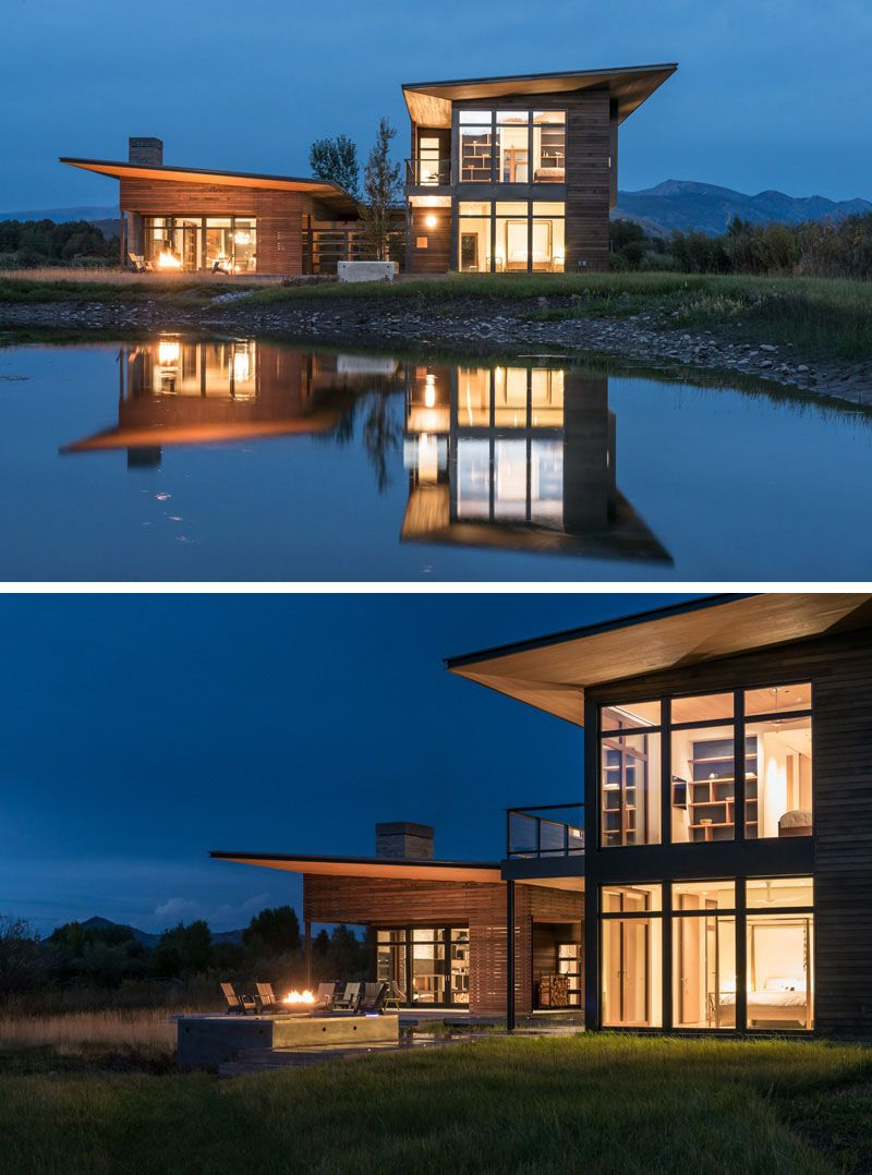 16 Examples Of Modern Houses With A Sloped Roof Roof Architecture Modern House Modern House Design