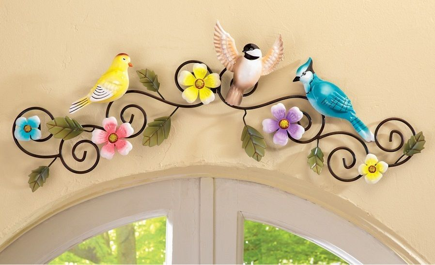 Spring Birds Pastel Flowers Floral Metal Scroll Wall Art Hanging ...