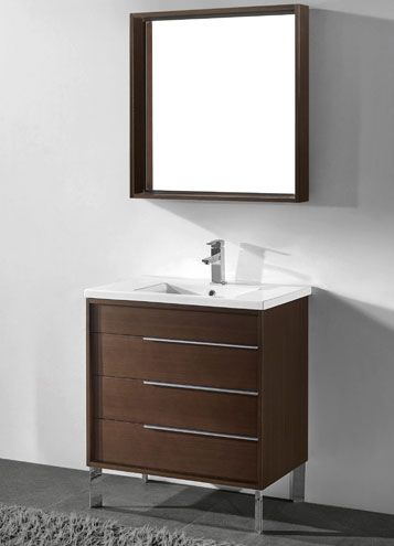 Milano 30 Inch Modern Walnut Bathroom Vanities Bathroom Vanity