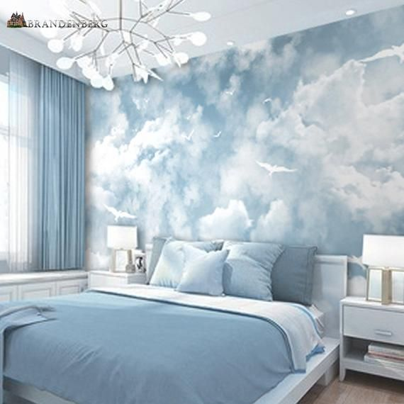 Abstract Blue Sky White Colors Sky Wallpaper Wall Mural Etsy In 2021 Blue Room Decor Blue Rooms Bedroom Wall Designs Blue wallpaper for bedroom