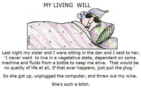 Living Will! Hilarious.