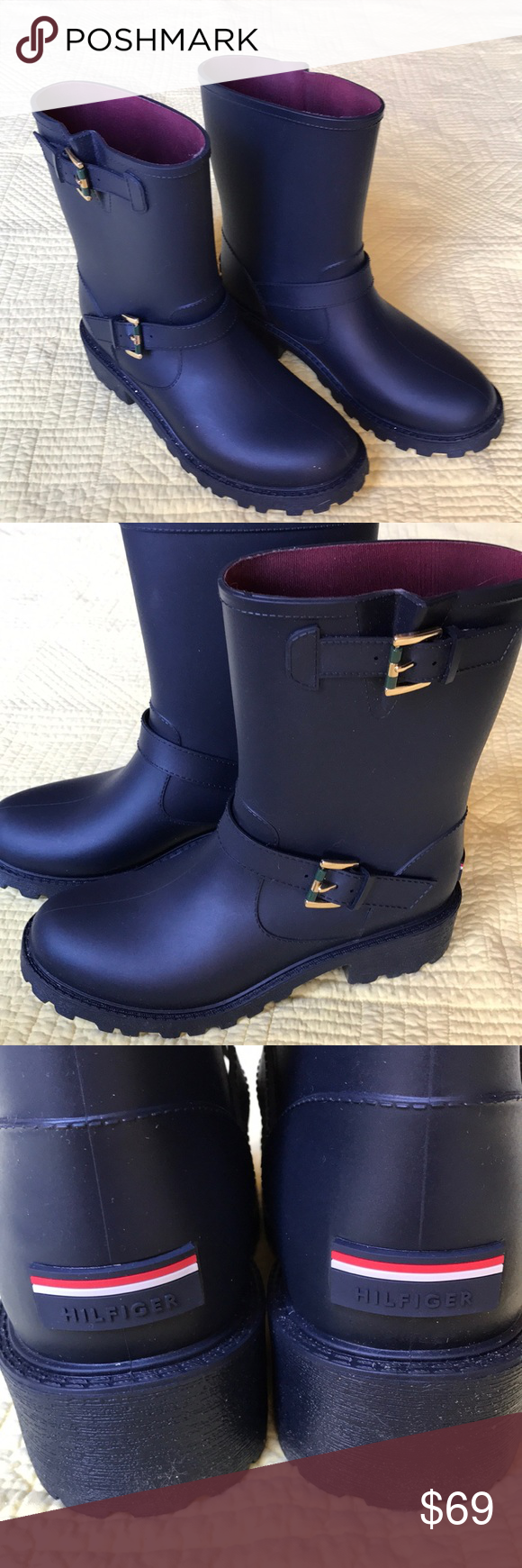 5ebade9f463e7a Tommy Hilfiger Navy Blue Rubber Rain Boots Hilfiger mid-calf navy Rain Boots  with gripping tread and two buckles on the outside. US size 9.