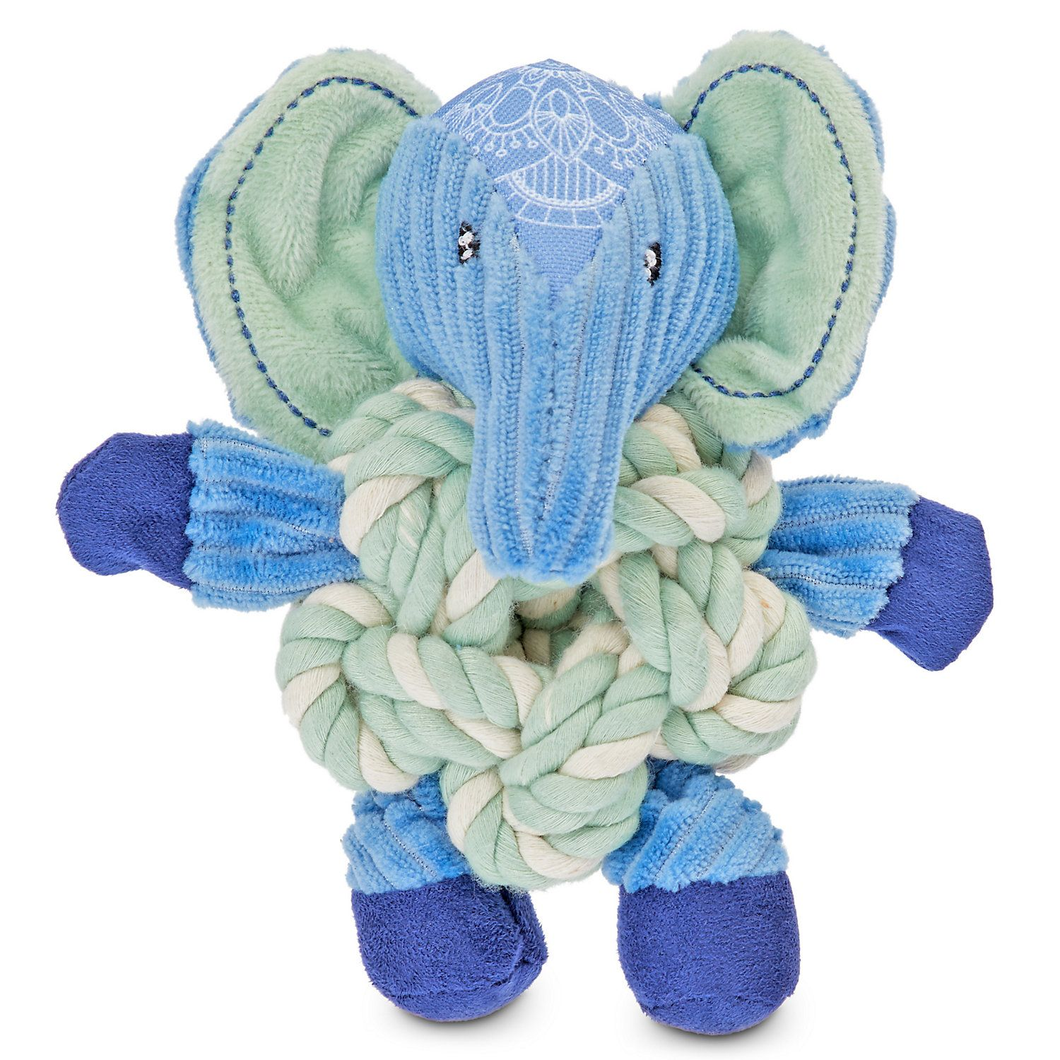 Serenity Peaceful Elephant Plush And Knotted Rope Dog Toy Small