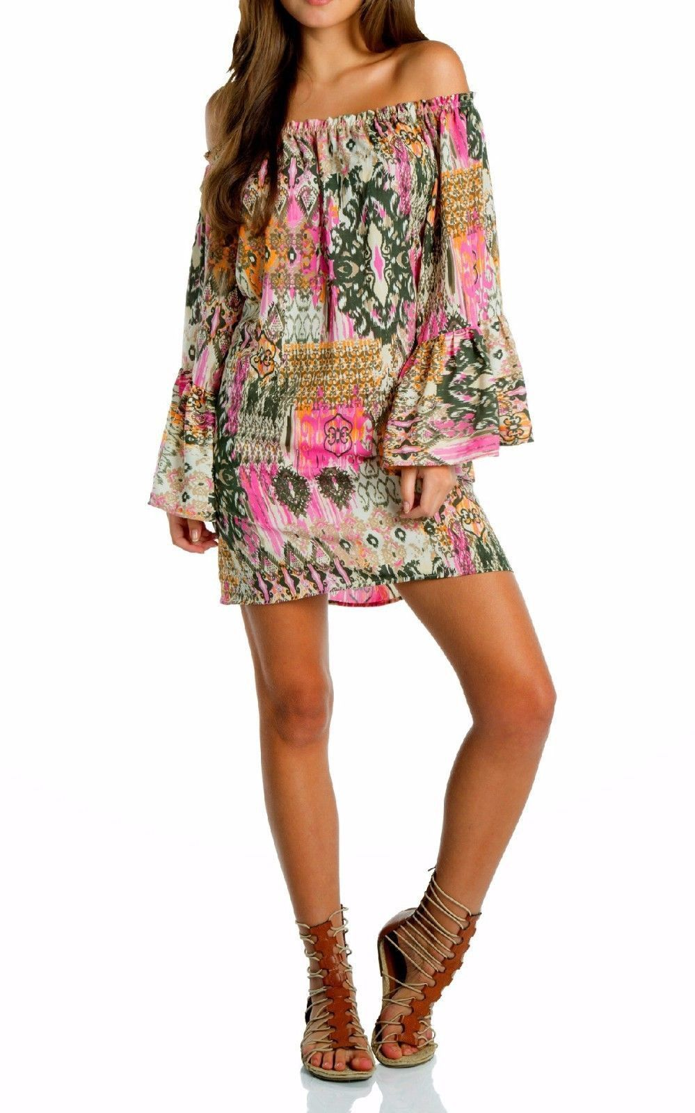 Boho tunic top blouses and dress 4009 trendy boho vintage gypsy - Eliza Bella For Elan Boho Hippie Off Shoulder Dress Blouse 3 Colors Sml