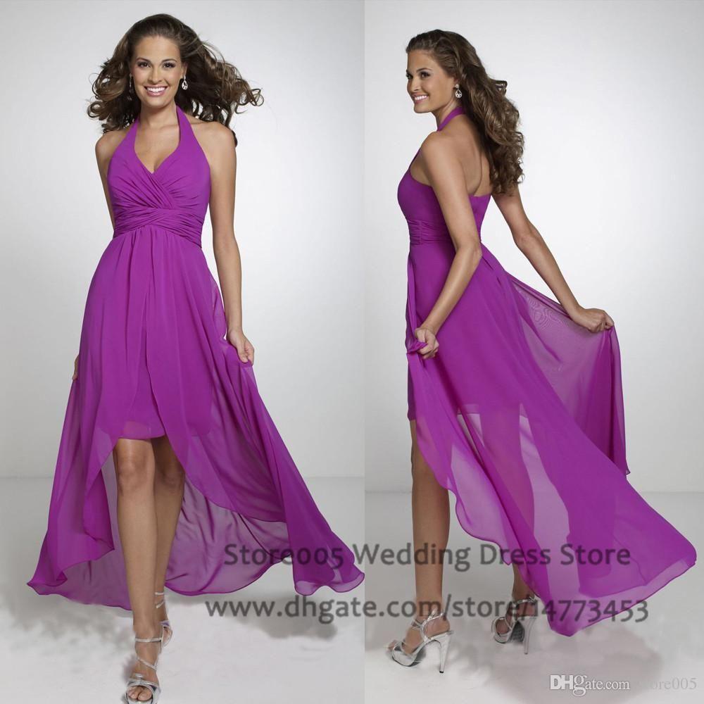 Western Chiffon Purple High Low Bridesmaid Dresses Halter Pleated ...