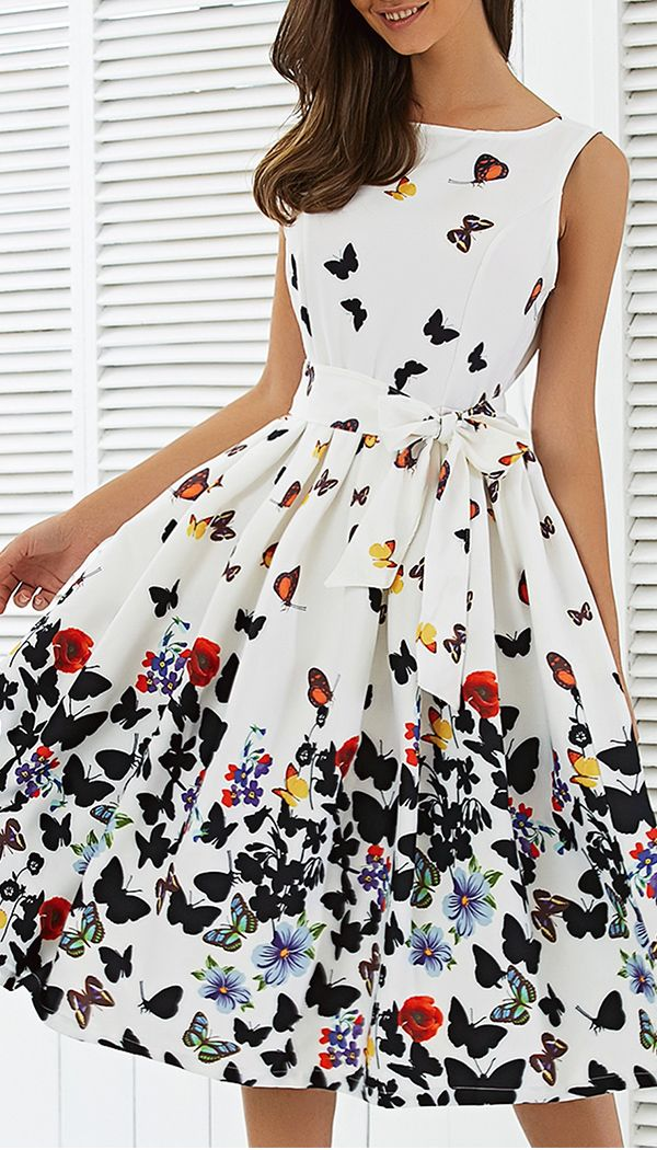 Sleeveless Floral Print Self Tie A Line Dress Casual Dresses