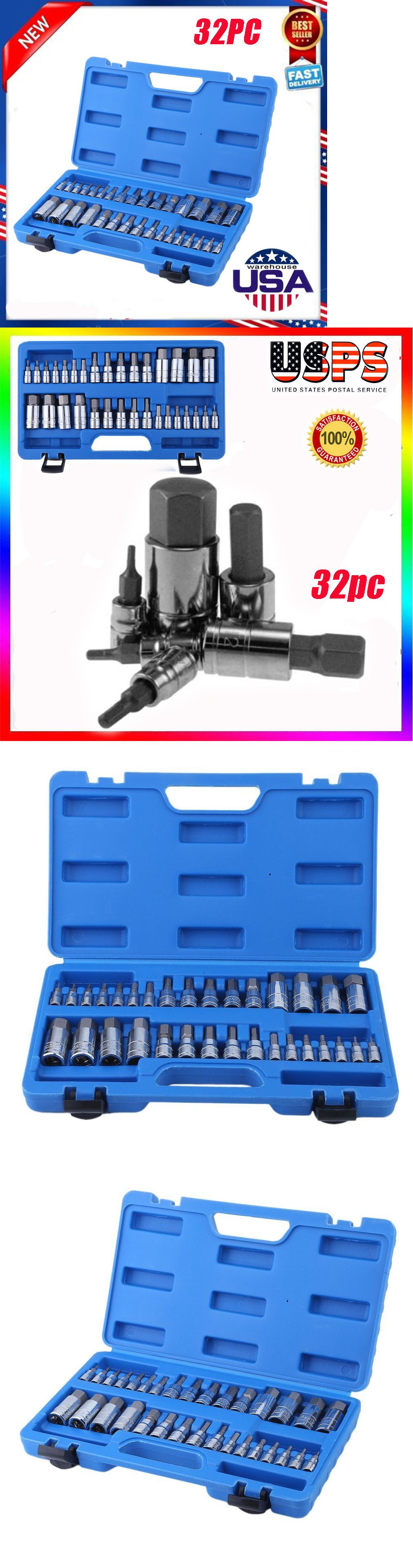 32pc Master Hex Bit Set SAE and Metric Socket Set Standard Allen 1//4 3//8 1//2 inch