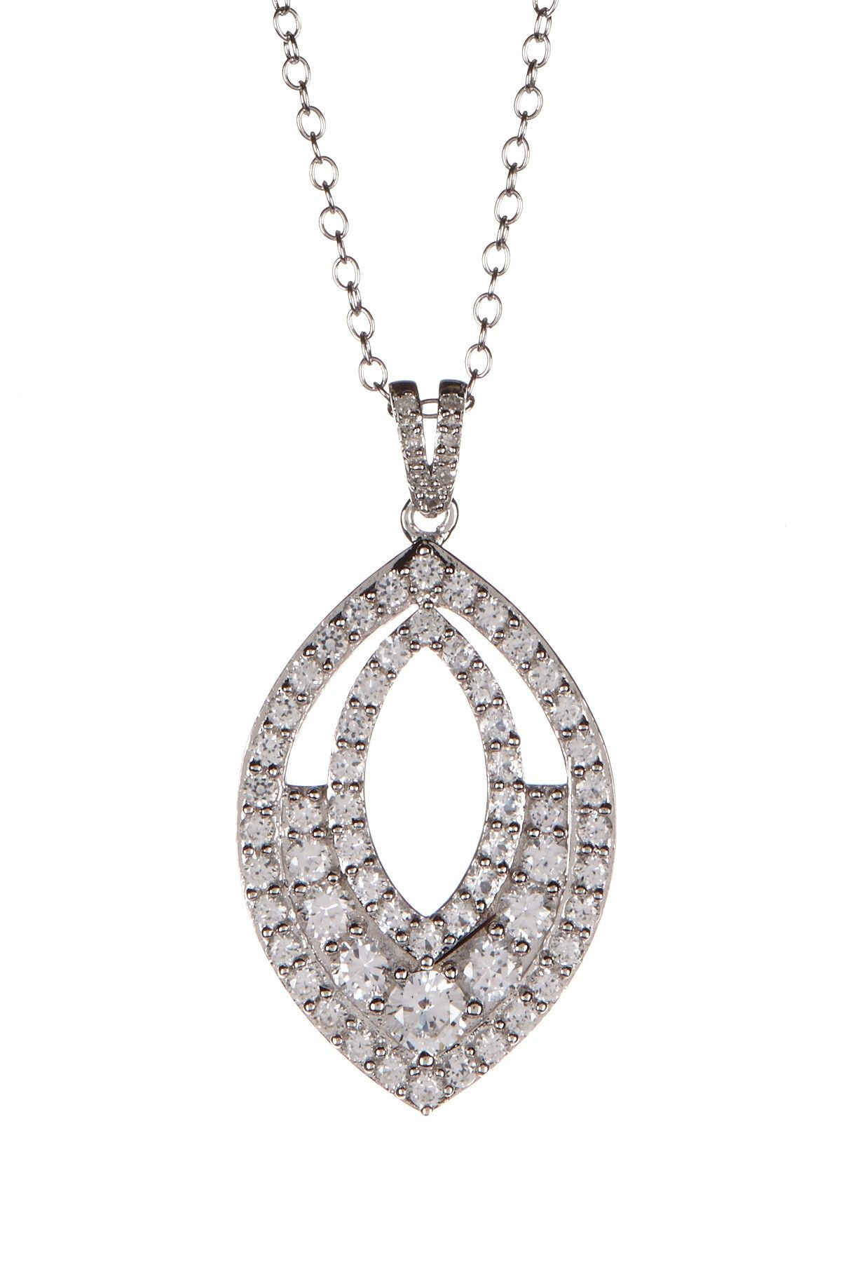 Sterling Silver Created White Sapphire & Diamond Marquise Pendant Necklace on @HauteLook