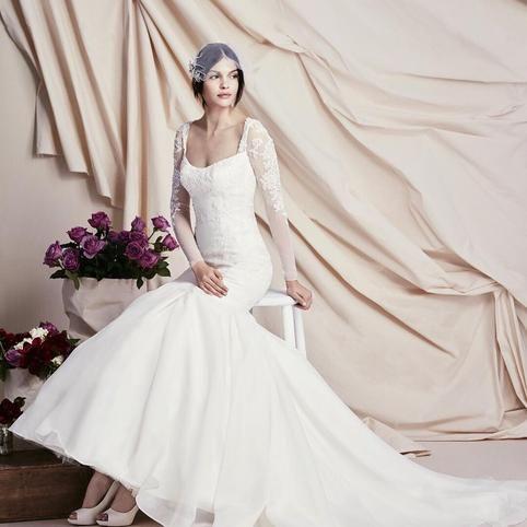 d4cd099ec5300 Truly Zac Posen Long Illusion Sleeve Wedding Dress - Davids Bridal ...