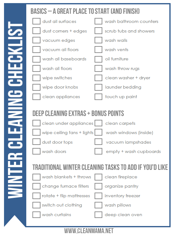 Winter Cleaning Checklist Get a jumpstart on your spring cleaning by doing a little winter cleaning - FREE printable checklist via Clean MamaGet a jumpstart on your spring cleaning by doing a little winter cleaning - FREE printable checklist via Clean Mama
