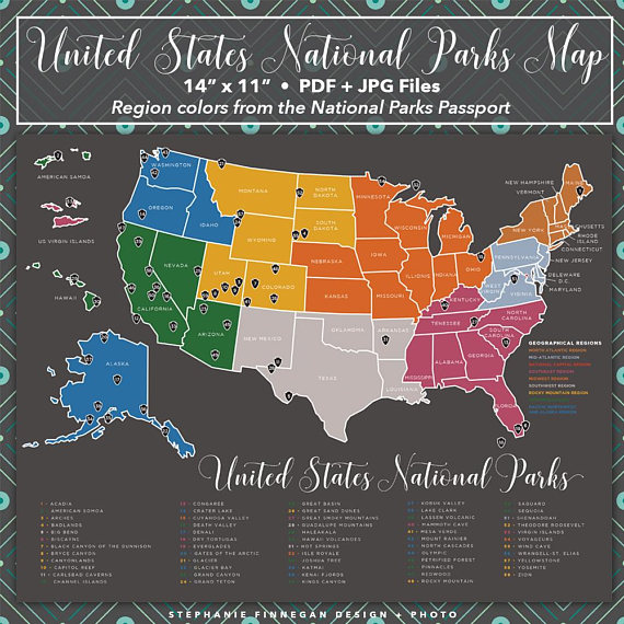 National Parks Map | US National Parks | Printable | National Parks ...