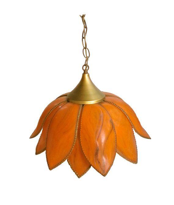 Vintage orange flower light fixture / 1960s by OldSewlVintage, $33.00