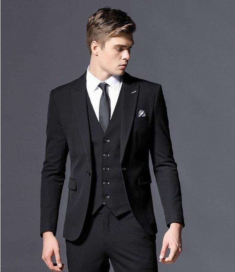 Men Suits Luxury Designer Formal Fashion Black 2 Piece Suit Wedding Groom Wear In 2021 Wedding Suits Men Black Slim Fit Suits Designer Suits For Men