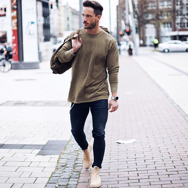 chelsea boots crew neck skinny jeans mes styles pinterest mode homme hommes et style. Black Bedroom Furniture Sets. Home Design Ideas