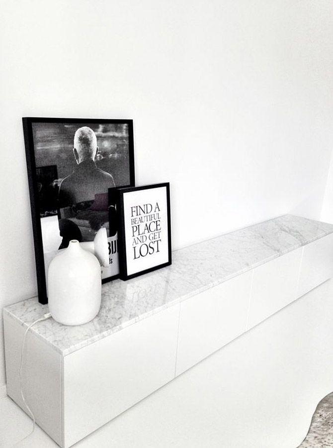 Besta ikea con sobre de marmol exterior con vistas blog for Muebles industriales baratos