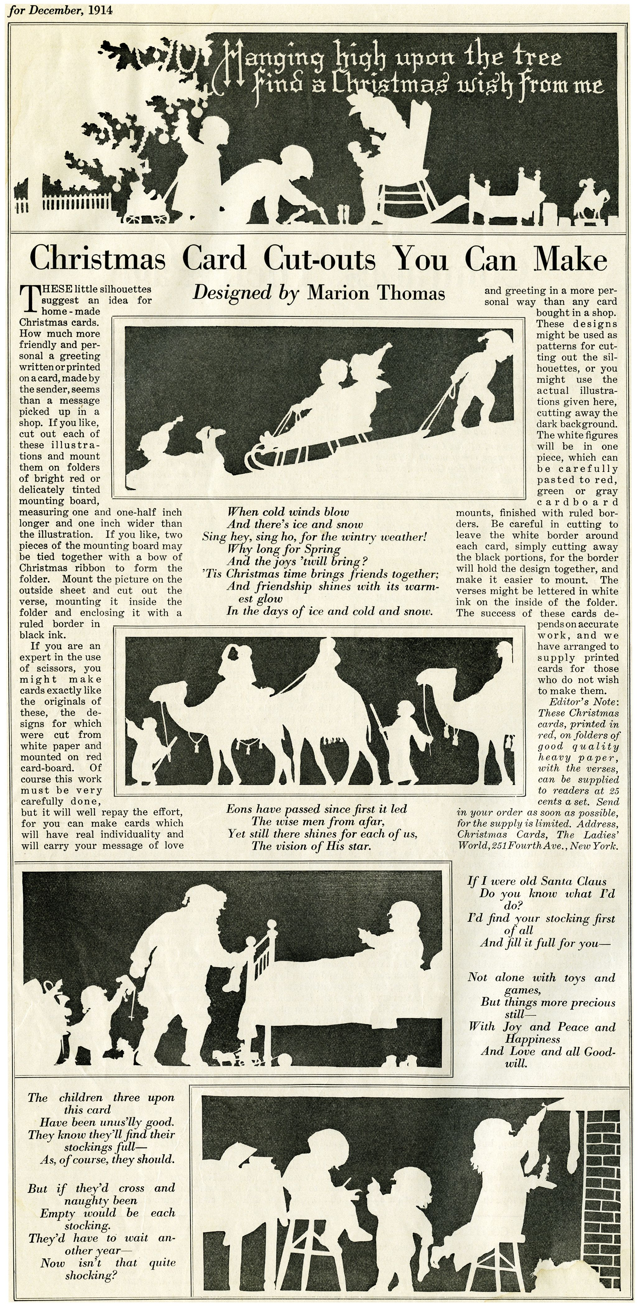 free digital christmas card cutouts this page is from the december 1914 issue of the ladies world magazine its a large image 68 x 14 at 300 dpi 38 - Free Digital Christmas Cards