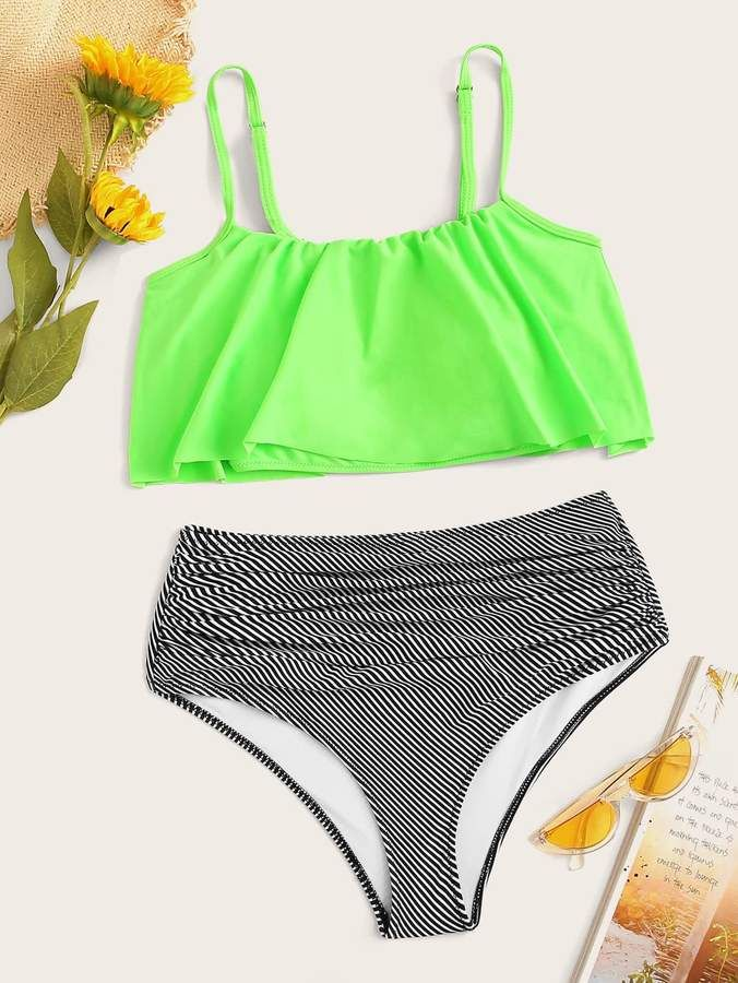 5683b2d2d8 Shein Neon Green Flounce Top With Striped Ruched Bikini in 2019 ...