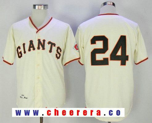 Men s San Francisco Giants  24 Willie Mays Cream 1951 Throwback Stitched MLB  Majestic Cooperstown Jersey ccc8a0548