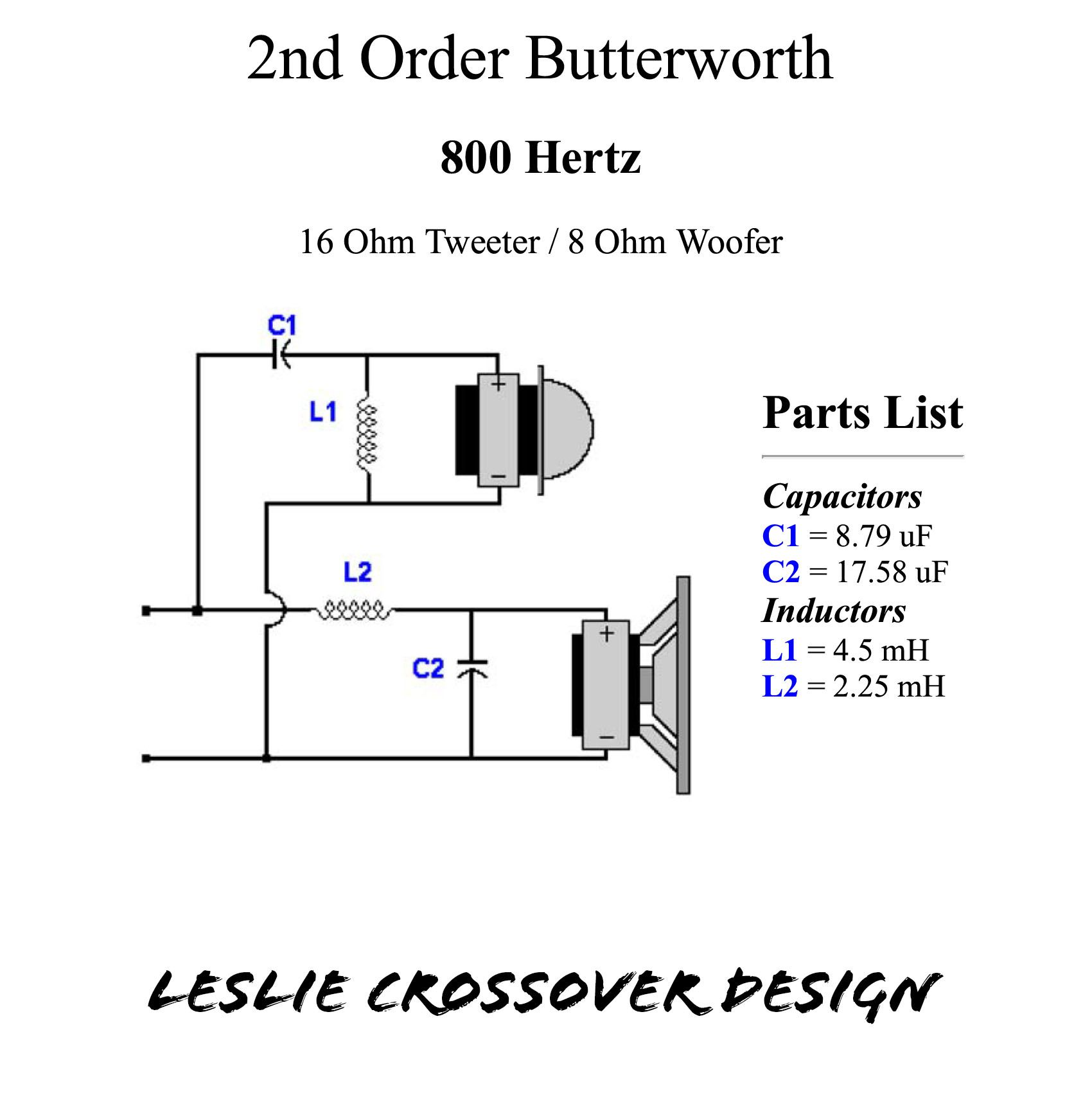 hight resolution of 800 hz leslie crossover design with 16 ohm horn driver and 8 ohm bass speaker