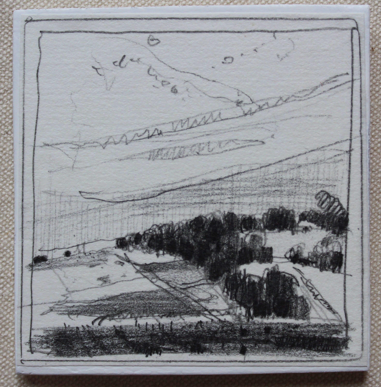 Original Tiny Plein Air Landscape Pencil Drawing on Panel Fridge Magnet Stooshinoff On Stewart Line