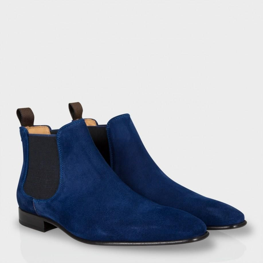 Blue ankle boots, Suede leather boots