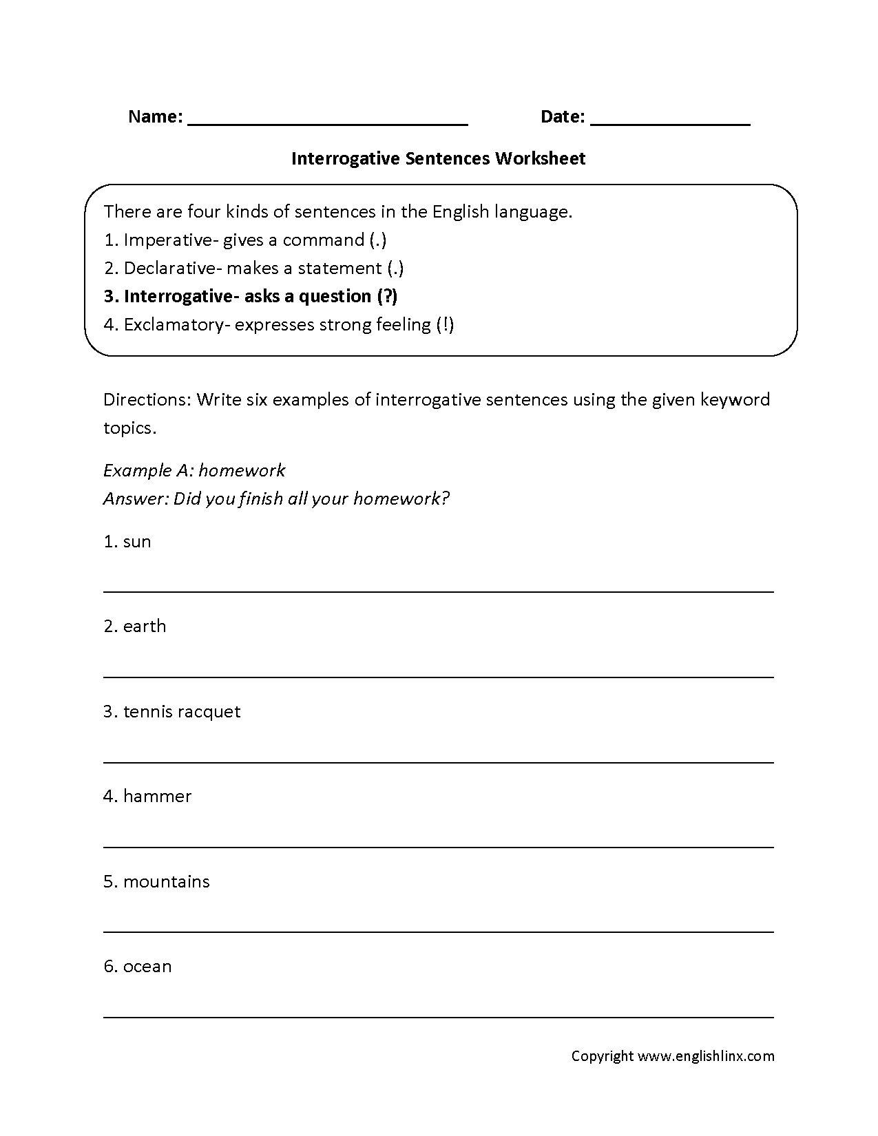 Types Of Sentences With Punctuation Worksheet