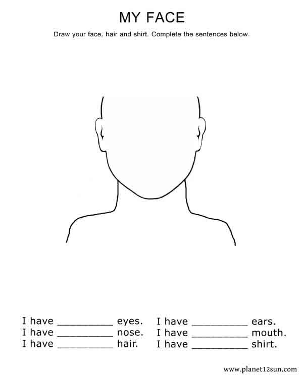 draw your face complete the sentences kindergarten 1st grade worksheet worksheets. Black Bedroom Furniture Sets. Home Design Ideas