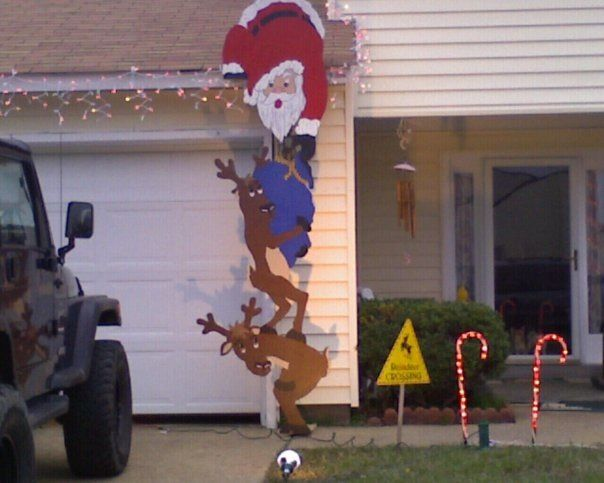 funny santa christmas yard decorations from wood | Jig sawed wooden Santa and reindeer outdoor decoration ...