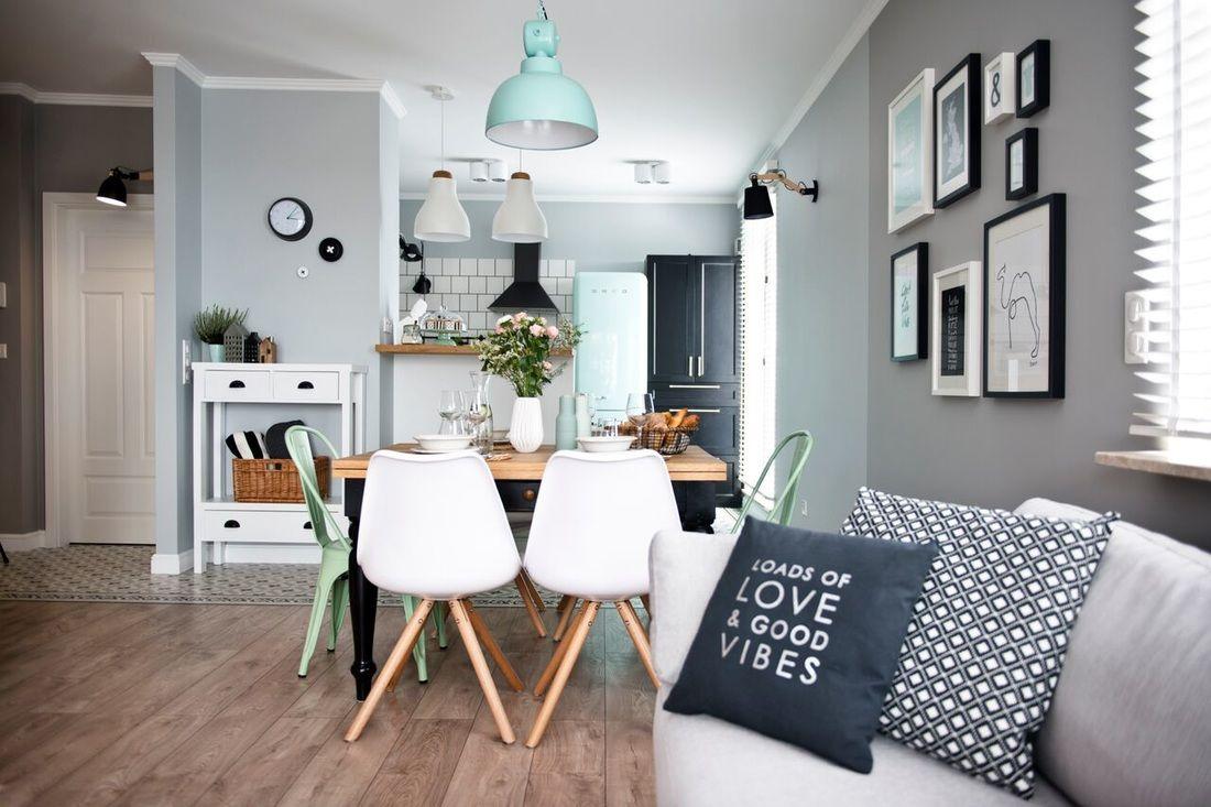 décoration avec du bleu, du menthe et du gris. | salons, lofts and