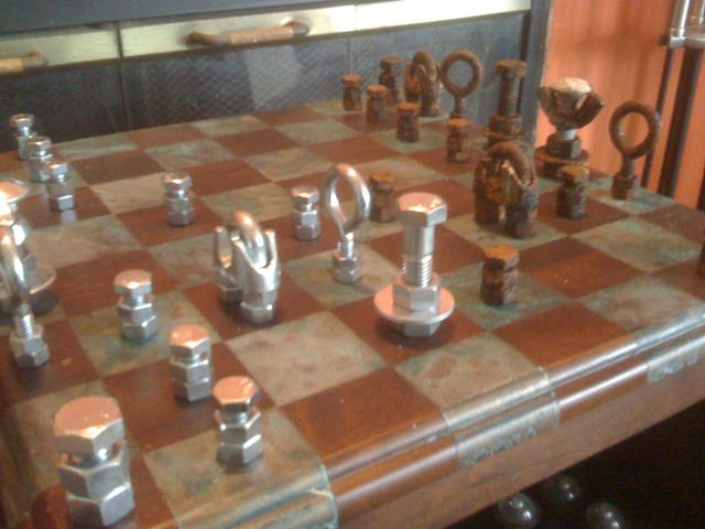 projects ideas metal chess pieces. hardware for chess boards  DIY Steampunk Hardware Chess Set Gomi Style TV sets