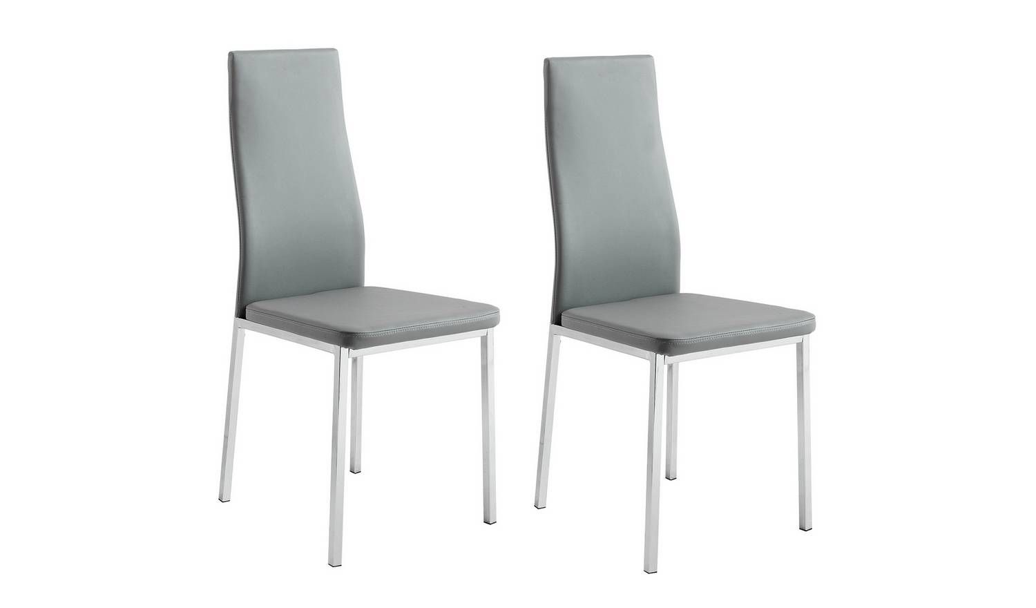 Buy Argos Home Tia Pair Of Chrome And Grey Dining Chairs Limited