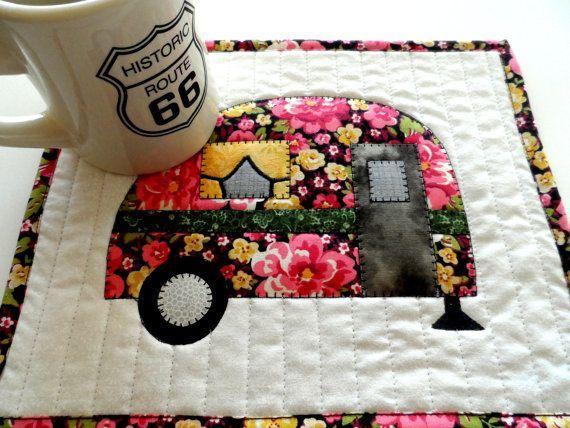 Camper mug rug, vintage camper trailer mug rug, snack mat, mini placemat, camper…