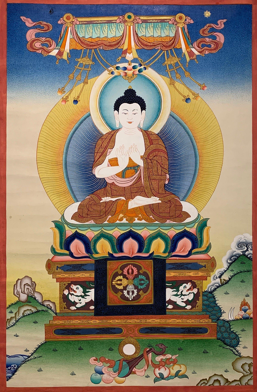 Vairocana Buddha Thangka Dhyani Buddha Thangka Original | Etsy in 2020 | Thangka, Thangka painting, Tibetan buddhist