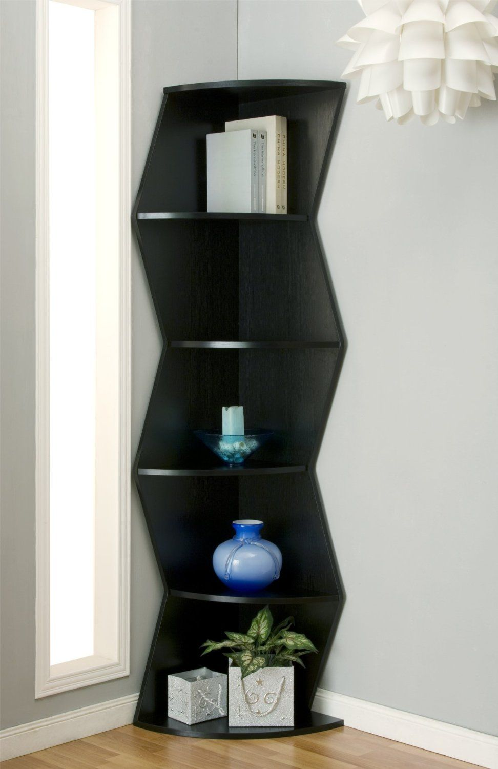 Furniture Of America Enitial Lab Morris 5 Shelf Corner Display Stand Bookcase Click Pic To Now