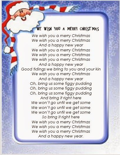 Letra Cancion We Wish You A Merry Christmas Fichas De Trabalho