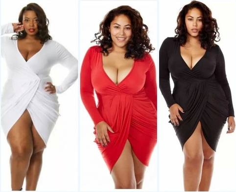 Women Plus Size V Neck Split Slit Bodycon Party Dress With Long