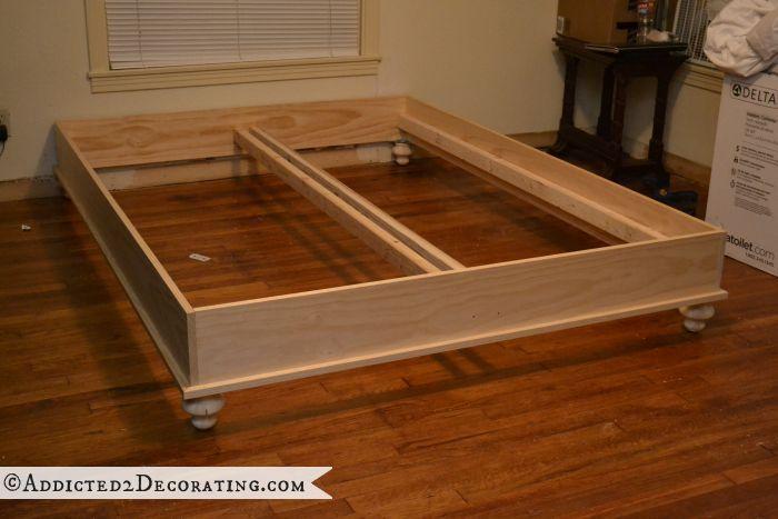 Diy stained wood raised platform bed frame part 1 diy for Raised platform bed
